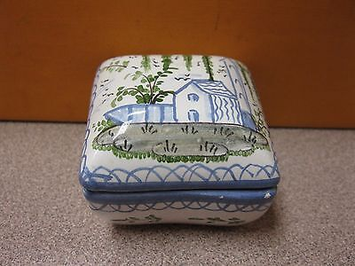 Vintage Hand Painted Delft Blue Ceramic Pill Trinket Box Portugal Free Shipping!
