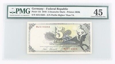 1948 West Germany 5 Deutsche Mark (PMG XF-45) Choice Extremely Fine 5 Mark P#13i