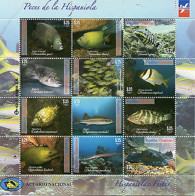 Dominican Republic 2014 MNH Hispaniolan Fishes 12v M/S Fish Marine Ray