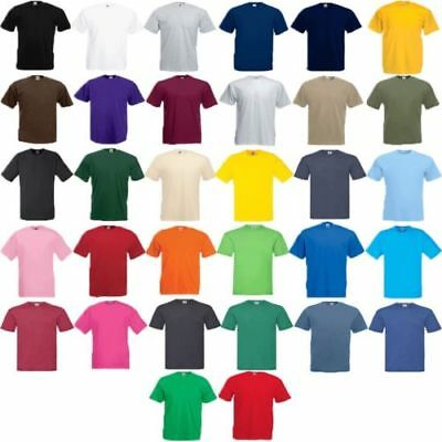 Fruit of the Loom Men's Plain 100% Cotton Tee Shirt Tshirt T-Shirt Short Genuine