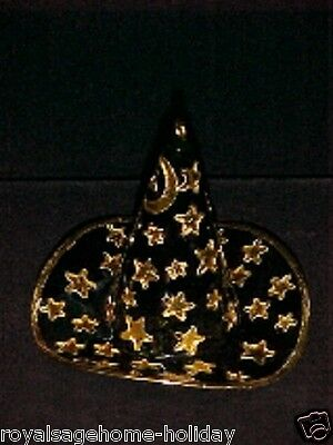 56717 Witch Gold Star Black Hat Bell Halloween Cloisonné Ornament Decoration
