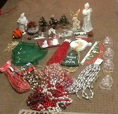 Large Lot of Christmas Vintage Ornaments/Decorations 35 Items Lot #3