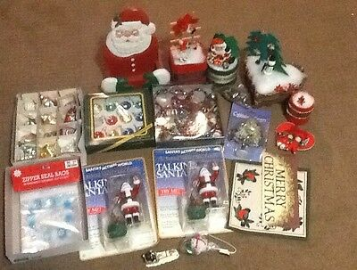 Large Lot of Christmas Vintage Ornaments/Decorations 30 Glass Ornaments Etc. #1