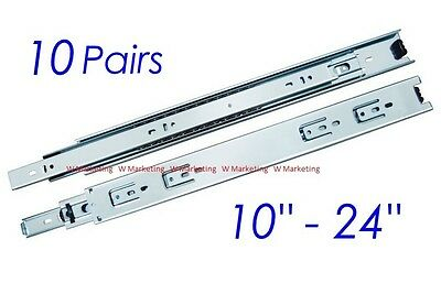 "10 Pairs Full Extension 100-lb Ball Bearing Drawer Slides 10""-24"" SL02"