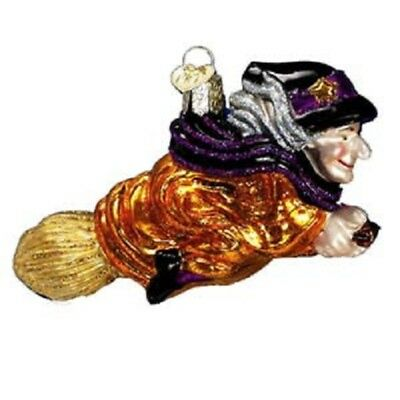 26051 OWC Witch on Broomstick Glass Ornament Halloween Decoration Broom Flying