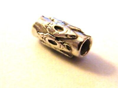 Sterling Silver Tube Spacer Bead 10mm x 4.5mm Ornate for Beading Projects .925