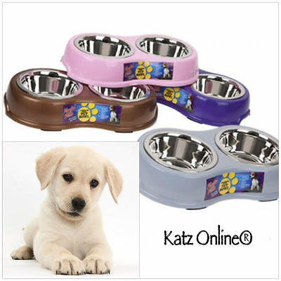 Katz Stainless Steel Dog Pet Bowl Cat Puppy Non Slip Water Feed Feeder LARGE MED