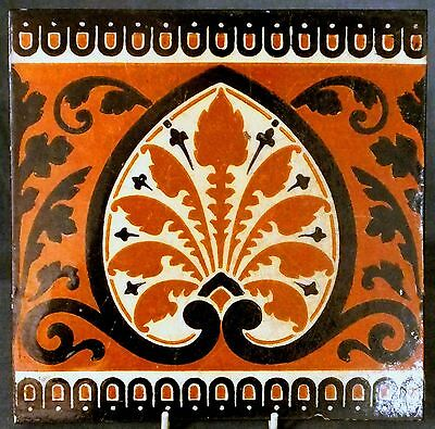 RARE 19th. CENTURY MINTON 8 INCH TILE DESIGNED by Dr.CHRISTOPHER DRESSER