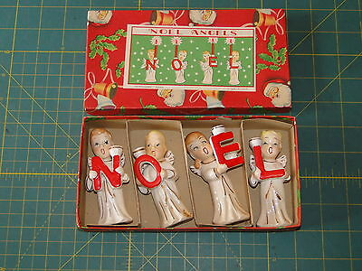 Vintage Commodore Japan NOEL Christmas Angels Candle Holder w/Graphic Box