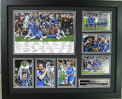 Chelsea 2012 Champions League Limited Edition Signed Framed Memorabilia