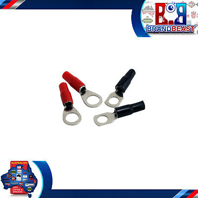 New! Rockford Fosgate Rfts4 4 Awg Seamed Crimp Style Ring Terminals - Pack Of 4