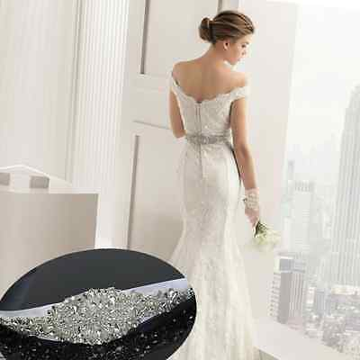 Bridal Crystal Sash Wedding Party Dress Belt Beaded Glass Rhinestone Ribbon New