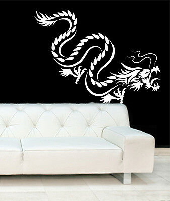Chinese Tribal Dragon Silhouette Wall Art Vinyl Stickers Oriental Murals Decals