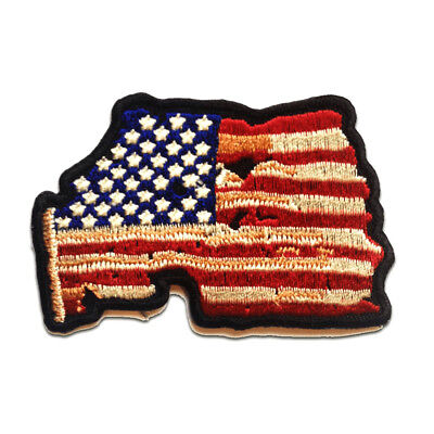 Aufnäher / Bügelbild - USA Flagge Fahne mit FADED Totenkopf Biker Skelett Patch