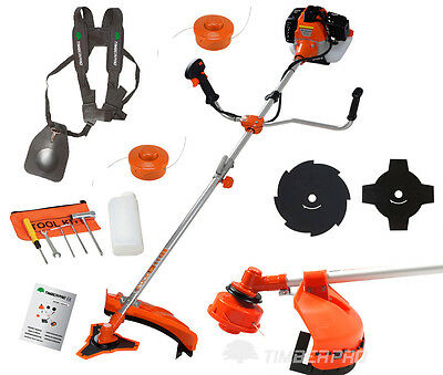 52cc Petrol Strimmer Brush Cutter with 3 Line Spools and 3 Brushcutter Blades