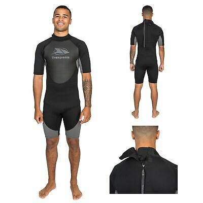 Trespass Scuba Mens Short Sleeved Black Neoprene Wetsuit for Diving Surfing