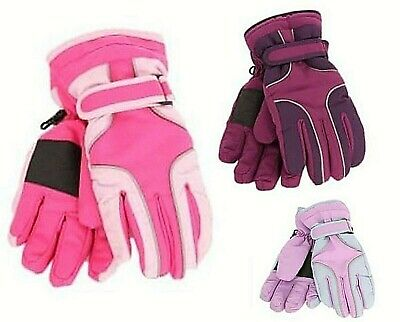Girls Winter Gloves Kids Pink Blue Waterproof Thinsulate Fleece Lined Ski Gloves