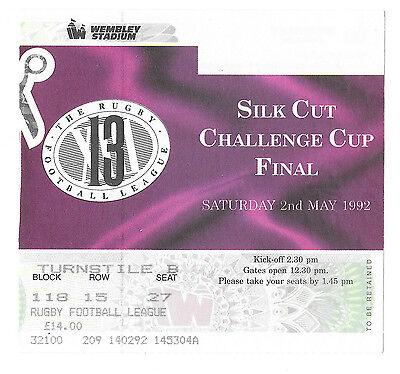 1992  - Castleford v Wigan, Challenge Cup Final Match Ticket.