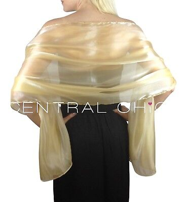 Central Chic Champagne Gold Silky Bridal Bridesmaid Wedding Shawl Stole Wrap