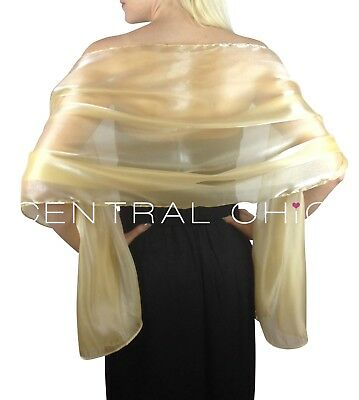 Champagne Gold Silky Bridal Bridesmaid Wedding Prom Shawl Stole Wrap Pashmina