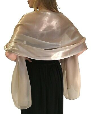 Golden Taupe Silky Bridal Bridesmaid Wedding Prom Shawl Stole Wrap Pashmina