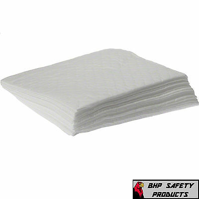 "White Bonded Oil Absorbent Pads 17""x15"" 100 Pads/case (Absorbs All Hydrocarbons)"