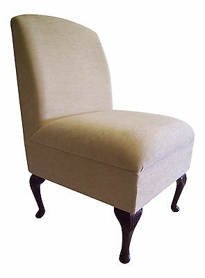 Bedroom Chair Fresco Cream Chenille Fabric On Queen Anne Style Legs