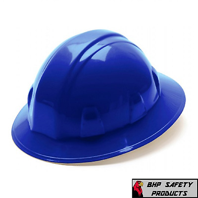 Pyramex Blue Full Brim Hard Hat With 4-Point Ratchet Suspension Hp24160 Safety