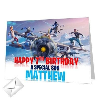 Personalised Fortnite Birthday Card Season 7 Any NAME Any AGE Any RELATION 14x21
