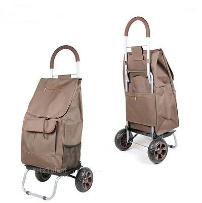 Shopping Trolley Hand Truck Cart Wheels Folding Bag Grocery Travel Utility Brown