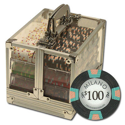 New 600 Milano 10g Clay Poker Chips Set with Acrylic Case - Pick Chips!