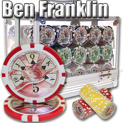 New 600 Ben Franklin 14g Clay Poker Chips Set with Acrylic Case - Pick Chips!