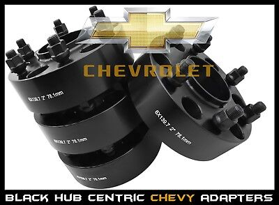 """4 CHEVY 6x5.5 BLACK HUB CENTRIC 2"""" THICK WHEEL SPACERS ADAPTERS 78.1 HUB BORE"""