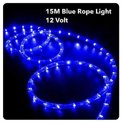 15M LED BLUE, 12 Volt Rope Lights - Ideal for Boats, 4WD , caravans