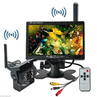 "Wireless Night Vision Car Truck Rear View Reverse Camera 18 IR + 7"" LCD Monitor"