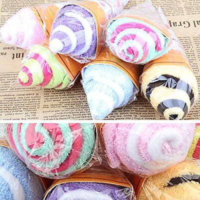 Cute Portable Double Color Soft Washing Towel Ice Cream Shaped Gift Favor Random