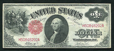 "Fr. 37 1917 $1 One Dollar Large Size ""sawhorse Back"" Legal Tender Note Vf+"