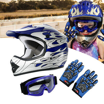 TCMT Youth Kids Blue Flame Dirt Bike ATV Motocross Off-Road Helmet+Goggles S~XL