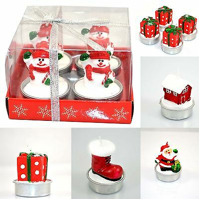 Set of 4 Candles Shatchi decorative Christmas Candles Novelty Natural