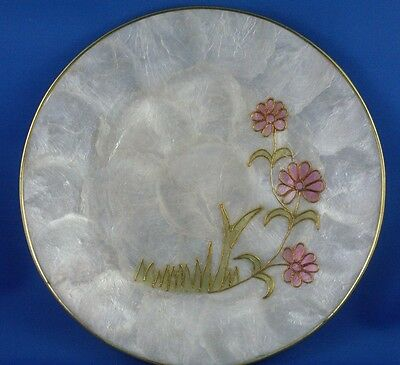 Unique Embossed FLORAL Pressed Shell Display Plate Collectable - In Australia