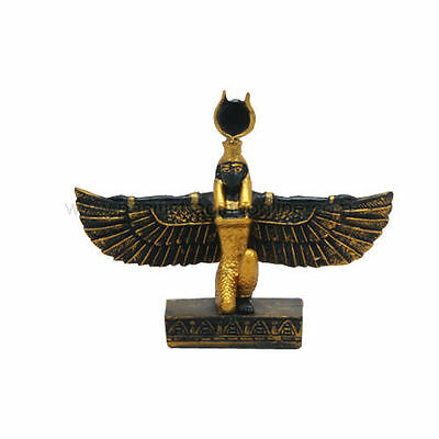 Ancient Small Isis Open Wings Egyptian Goddess Of Wisdom Statue Black Figurine