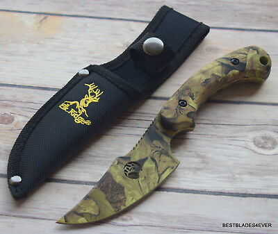 "8"" Overall Elk Ridge Green Camo Hunting/Skinning Knife Full Tang Nylon Sheath"