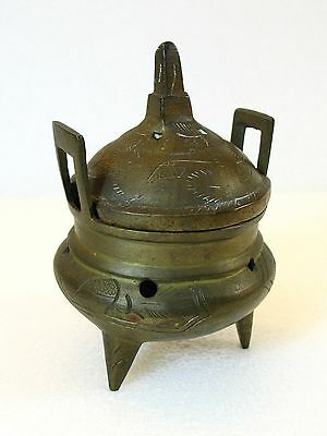 Antique Chinese Brass Incense Burner with Lid Xuantong Period Qing Dynnasty
