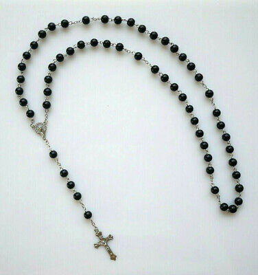 Pressed Glass Black Beads Rosary