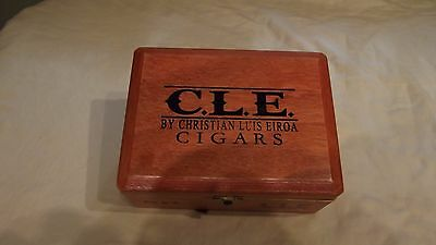 """BEAUTIFUL C.L.E. WOODEN CIGAR BOX GREAT CONDITION STANDS AT 7""""1/4 X 5""""1/2 X 3"""""""