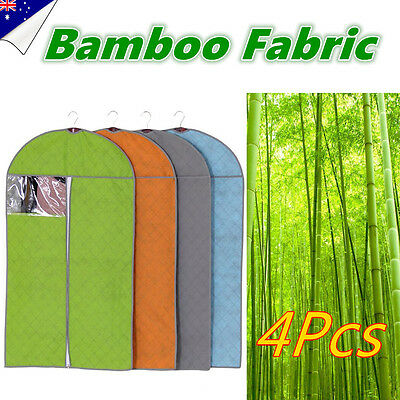 4x Bamboo Fabric Suit Garment Dress Clothes Travel Cover Bag Dustproof Protector