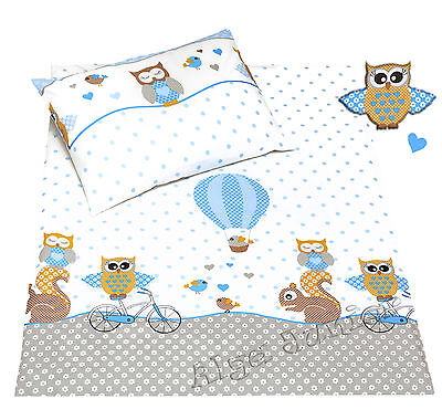 2 pcs cot cot bed sets pillowcases sheets Cotton baby boy toddler kids owl blue