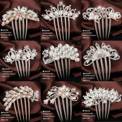 Charming Bridal Pearls Crystal Rhinestone Hairpin Flower Diamante Hair Clip Comb