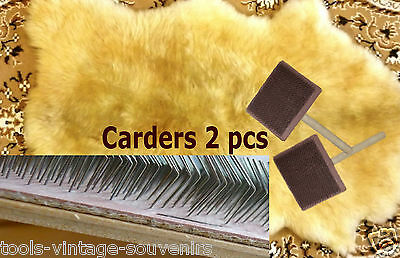 2 Pcs Hand Carders Wooden Wool Felting and Spinning to freshen Wool Down Fluff