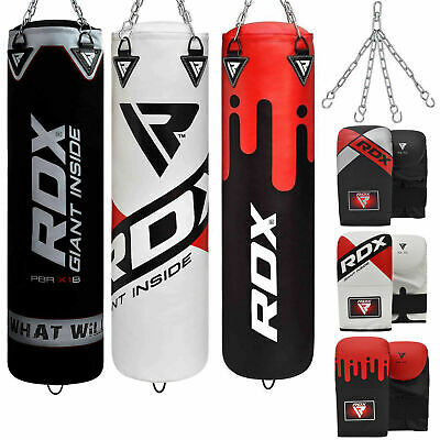 RDX Punching Bags Set Gloves Heavy Punch Bag Boxing Dual Kick Training Station